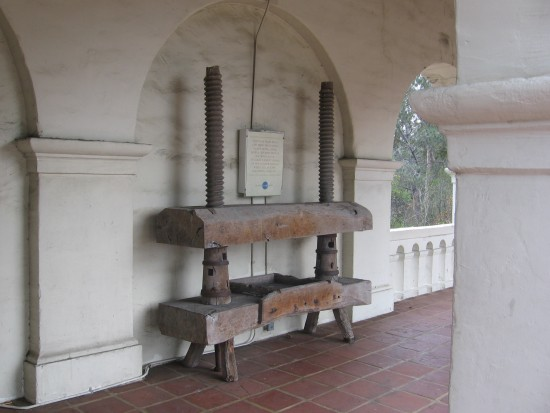 Large wine press outside the old San Diego presidio.