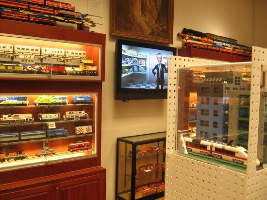 Pacific Beach Club Room with trains, videos and Lego exhibits.