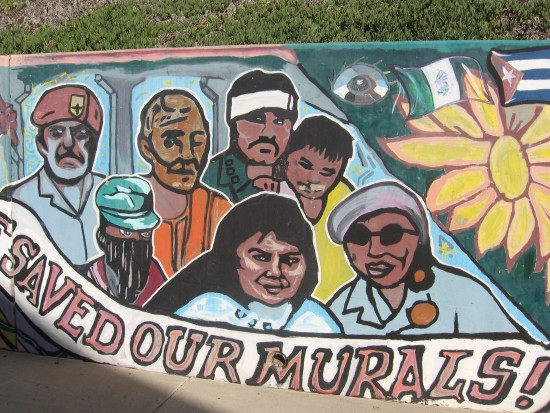 12 Mural behind Chicano Park basketball court.