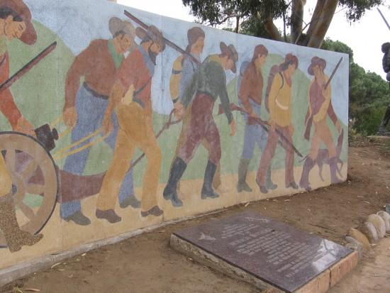 Mural at Fort Stockton of the Mormon Battalion.