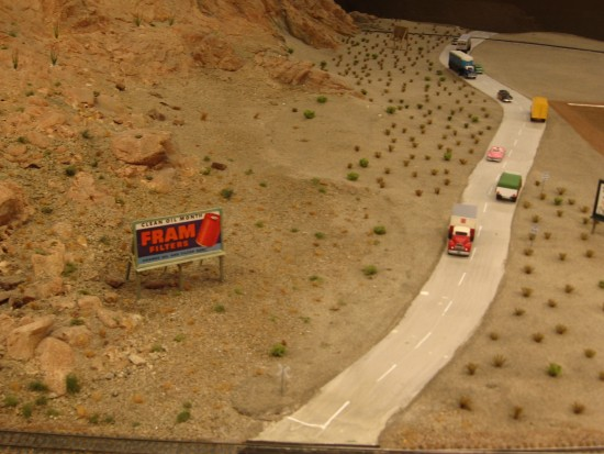 A stretch of desert highway in HO scale.