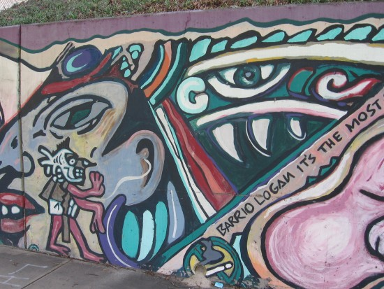 15 Mural behind Chicano Park basketball court.