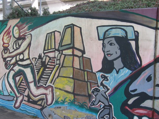 16 Mural behind Chicano Park basketball court.
