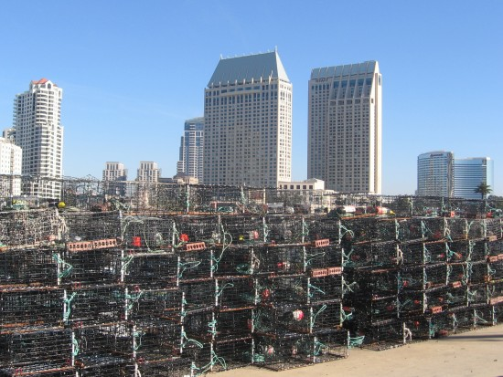 Wall of lobster traps on Tuna Harbor Pier.
