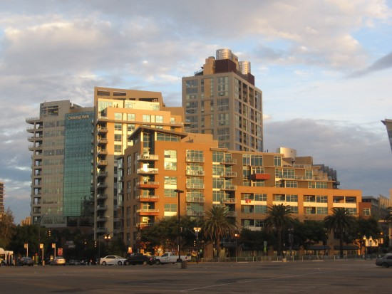 Buildings near Petco Park touched by early morning light.