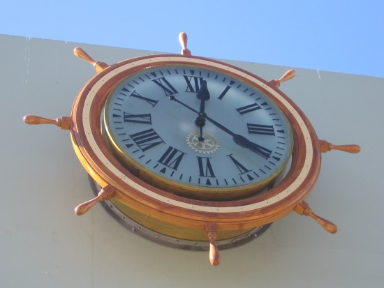 Clock on street side of San Diego cruise ship terminal.