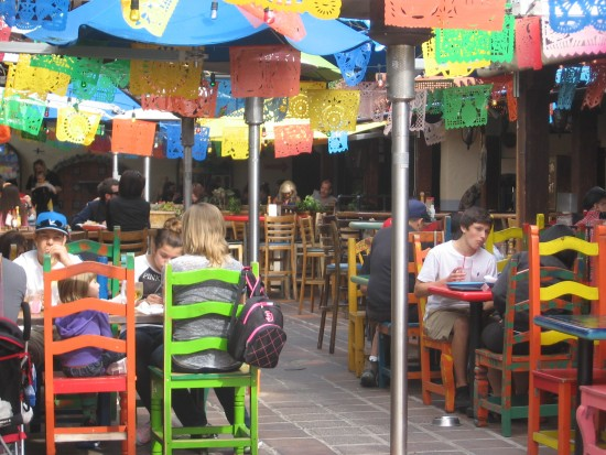 Eating great Mexican food outdoors in San Diego's Old Town.
