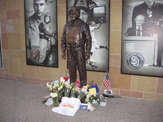 Flowers mark the passing of San Diego's beloved Jerry Coleman.