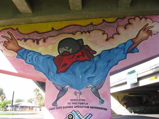 Raza mural decries Operation Gatekeeper.