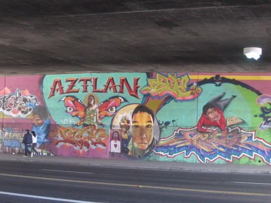 Aztlan mural on Cesar Chavez Boulevard.