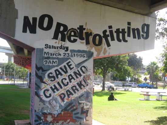 Mural at edge of Chicano Park opposes retrofitting.
