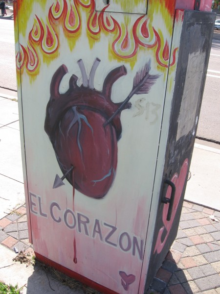 Utility box painted with El Corazon.
