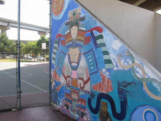 Elaborate mural on handball court in Chicano Park.