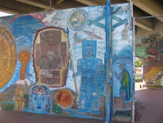 A very detailed mural in Chicano Park.