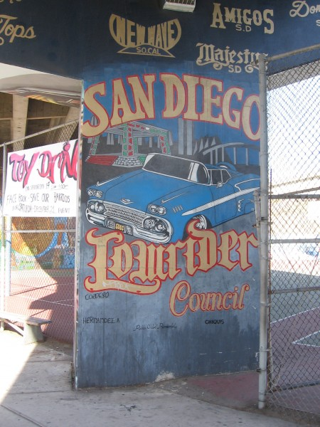 San Diego Lowrider Council mural in Chicano Park.
