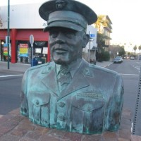 Bust of war hero in Little Italy's Piazza Basilone.