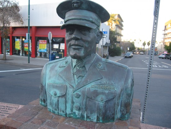 Bust of World War II hero John Basilone in Little Italy.