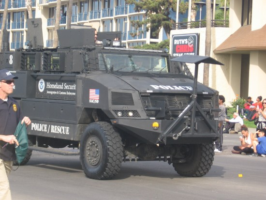 A huge Homeland Security armored vehicle.