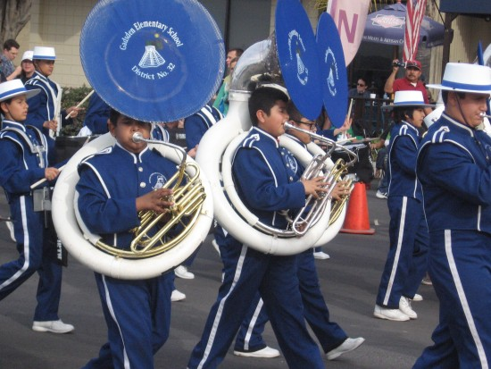 Tuba players march in the San Diego MLK parade.