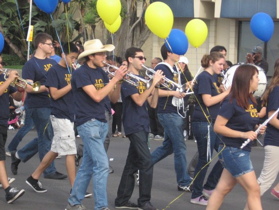 The UCSD band passes by.