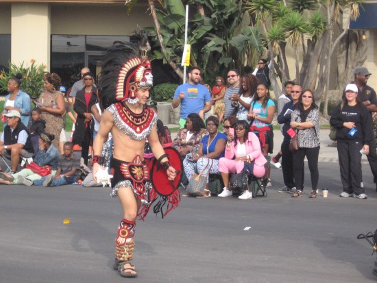 SDSU Aztec Warrior at MLK Parade in San Diego.
