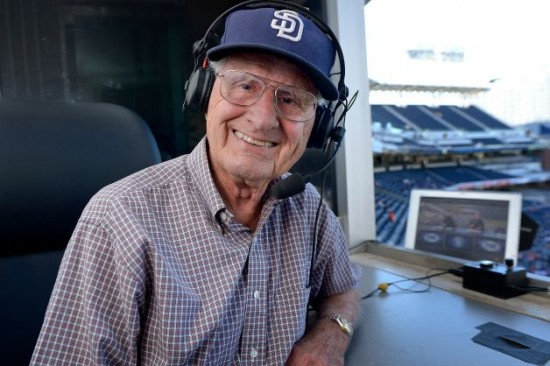 Jerry Coleman in Padres broadcast booth.