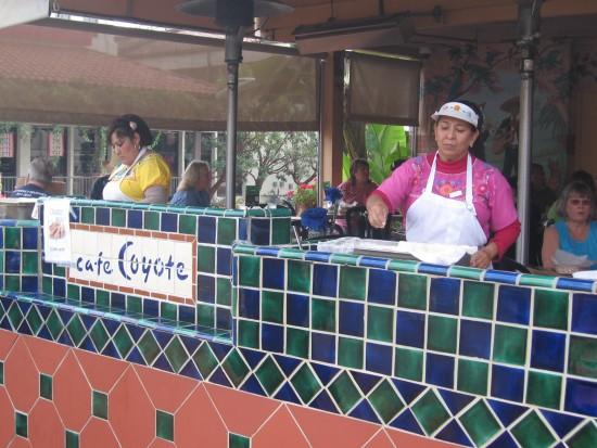 Old Town pedestrians can buy hot buttery tortillas.