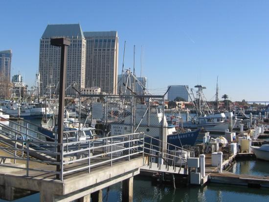 Ramp down to docks in San Diego's Tuna Harbor.