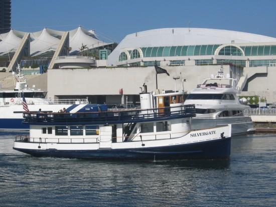 San Diego ferry Silvergate departs behind convention center.