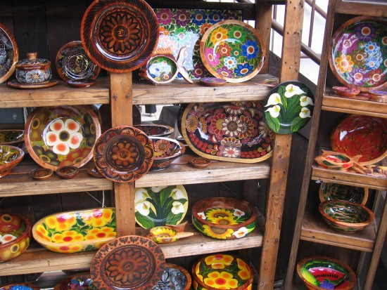 Very colorful pottery can be found everywhere.