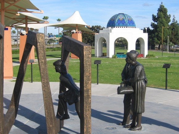 Bronze forms represent people beginning to undergo medical treatment.