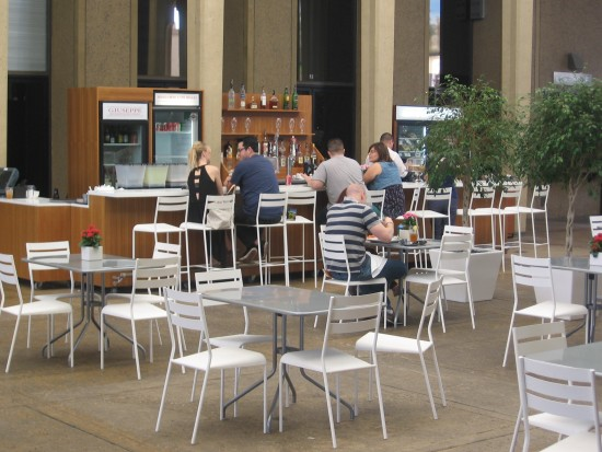 Cafe in building by San Diego Museum of Art's sculpture garden.