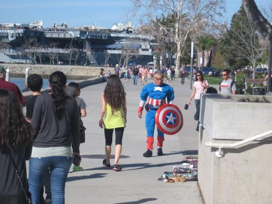 Captain America patrols San Diego's Embarcadero.