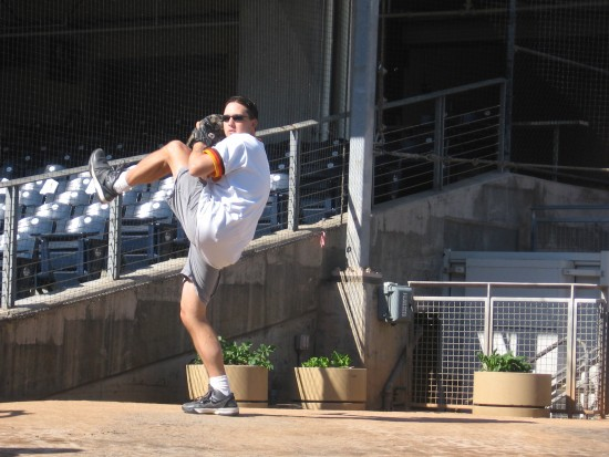 Padres fan gets to throw a pitch in the Petco bullpen!
