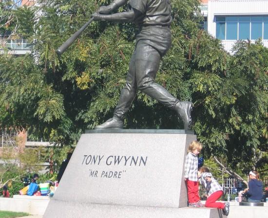 Kids play at base of Tony Gwynn statue.