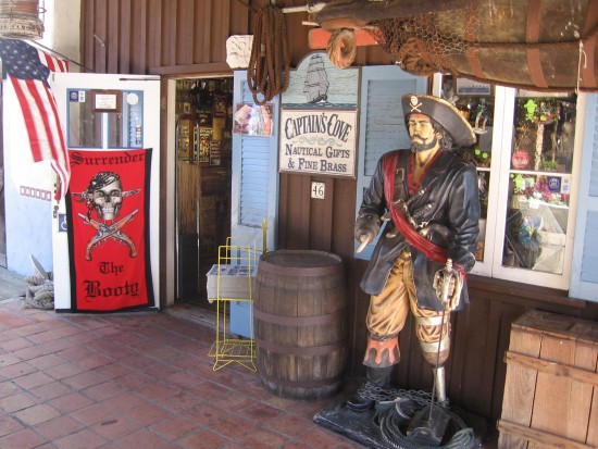 Pirate stands guard outside a Seaport Village nautical shop.