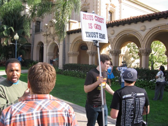 Proselytizing in Balboa Park and argumentation.