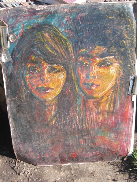 Sample of colorful double portrait rendered in chalk.