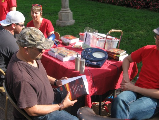 Scientologists with mysterious stress-detecting machines.