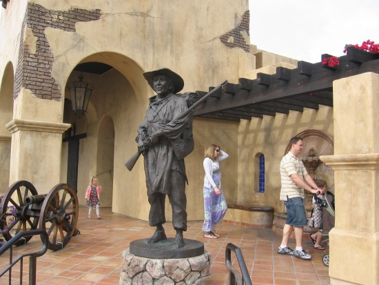 Sculpture and cannon at entrance to Mormon Battalion Historic Site.