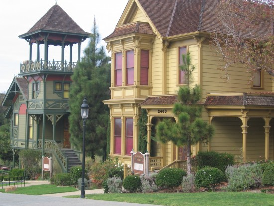 Several colorful Victorian houses were relocated to Heritage Park.