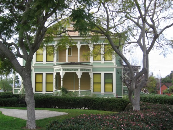 Side view of the Burton House in San Diego's Heritage Park.