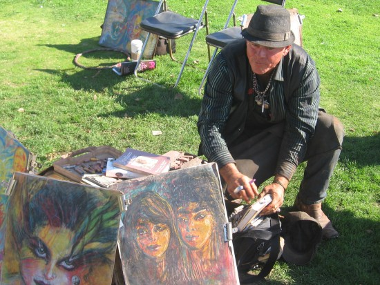 Steve Mac, chalk portrait artist at Seaport Village.