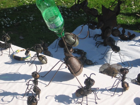 Stone and steel ants by an artist near Seaport Village.