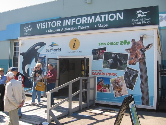 Tourists at the Visitor Information shack.