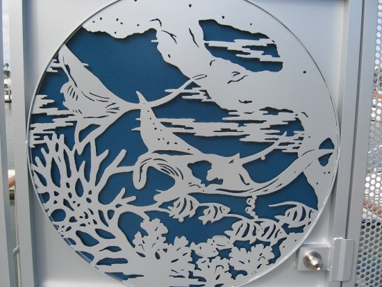 Underwater scene on a marina entrance gate.
