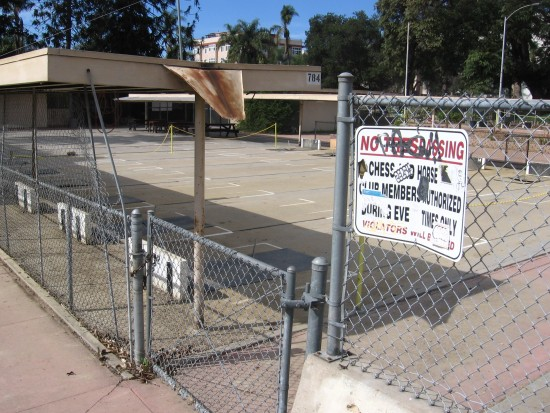 Unused horseshoes pits near San Diego Chess Club.
