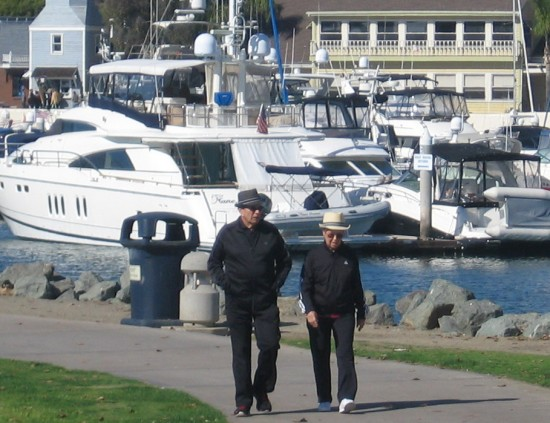 Walking in Embarcadero Marina Park North.