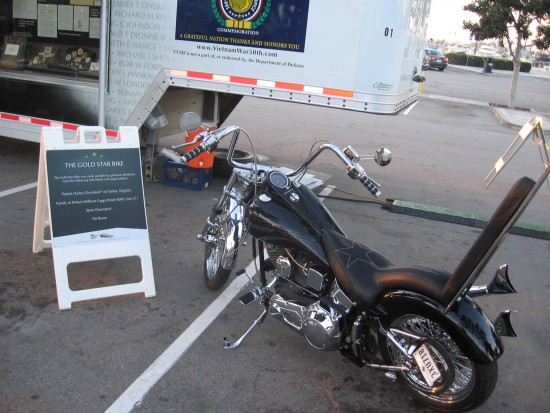The Gold Star Bike on public display.