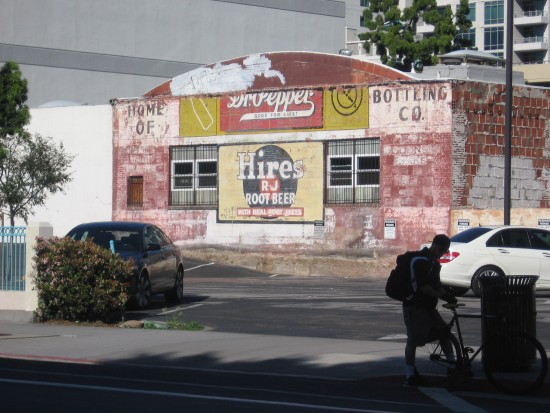 View of faded Hires Root Beer ad from across street.